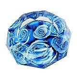 【Woliwowa】 美しい 薔薇の 花 デザイン ガラス製 灰皿 (ブルー) [並行輸入品]