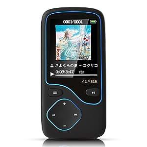 AGPTEK Bluetooth搭載 デジタルオーディオプレーヤー MP3プレーヤー ロスレス音質 超軽量 容量8GB マイクロSDカード最大64GBに対応 C05B ブラック