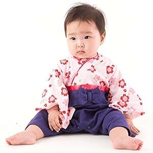 FUN fun (ファンファン) 袴 ロンパース 女の子 赤ちゃん 巫女 パープル 60~70サイズ