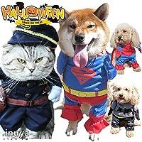 犬服 コスプレ コスチューム スーパーマン バットマン スパイダーマン 警察 犬服 2足立ち 小型犬用 スーパーワン,4号-Lサイズ
