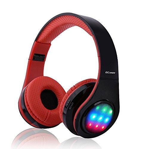 【Bluetooth ワイヤレス ヘッドフォ】Ecandy ステレオ音楽折りたたみ式オーバーイヤーBluetoothヘッドフォ 3 LEDライトモード搭載 内臓マイクハンズフリー通話(レッド)