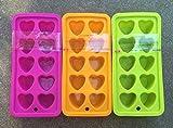 レイバン シリコンハート型アイスキューブトレイバンドル–オレンジ、ピンク、ライトグリーン
