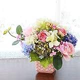 山久【母の日ギフト】紫陽花とバラのボリューム感のあるアレンジ 0903-1708g (T触)【造花】