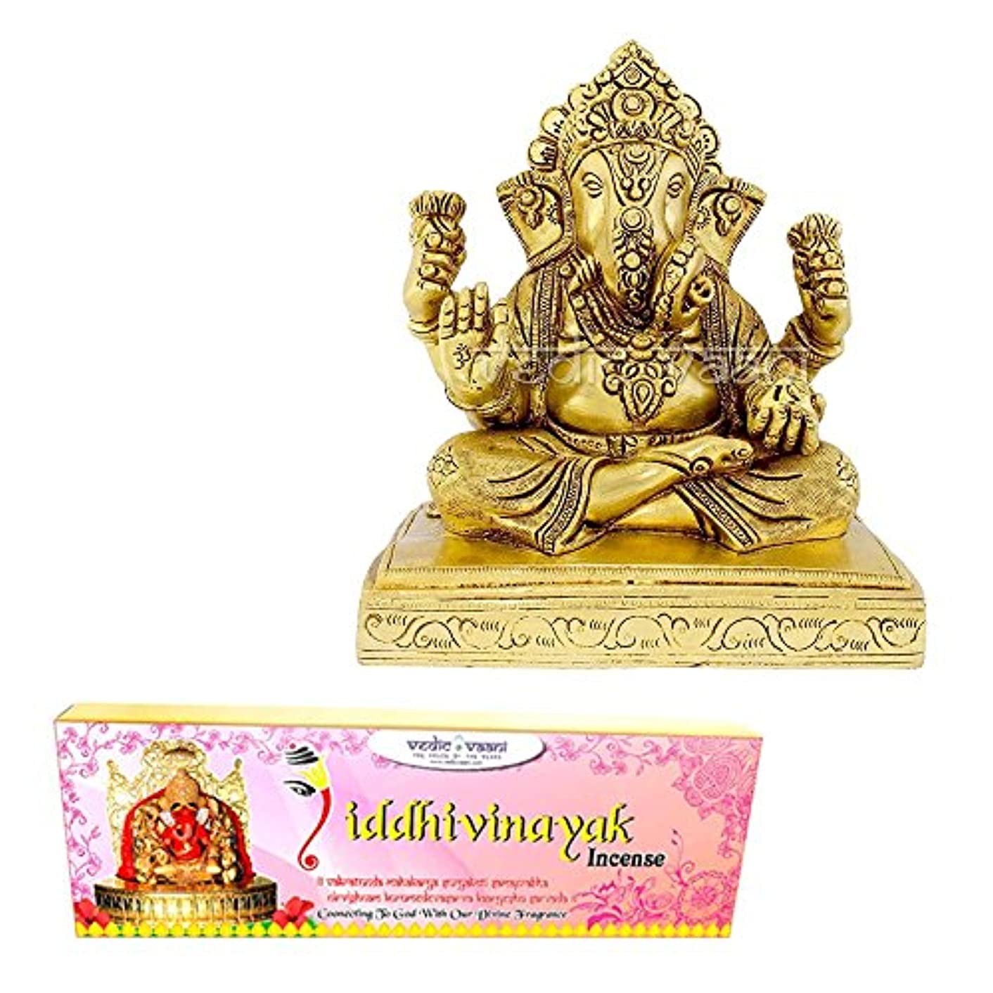 四面体月令状Vedic Vaani Dagadusheth Ganpati Bappa Fine Idol In Brass With Siddhi Vinayak Incense