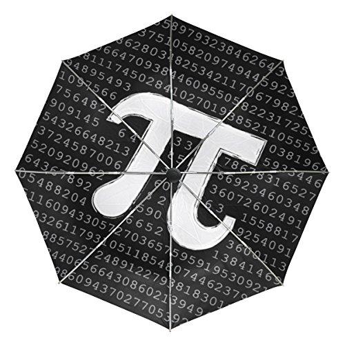 ALAZA 自動開閉式折りたたみ傘 数学柄 数字柄 アラビア数字柄 円周率柄 カスタムデザイン ブラック 外側コーティング 8本骨 ケース付き 晴雨兼用 3段折 プレゼント