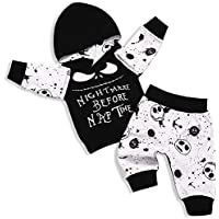 Toddler Baby Boy Clothes 2Pcs Newborn Outfit Set Letter Printing Skull T-Shirt and Pants Clothing Set