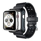 apple watch 44mm ケース バンド Seiaol アップルウォッチ Series 4 44㎜専用 カジュアルな設計 おしゃれ 便利 耐衝撃 一体式 (44㎜一体式, 黒)
