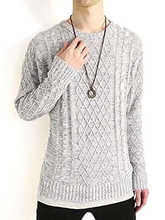 (モノマート) MONO-MART フィッシャーマン ニット セーター クルーネック 起毛 ゆる ケーブル編み 長袖 メンズ グレー Lサイズ