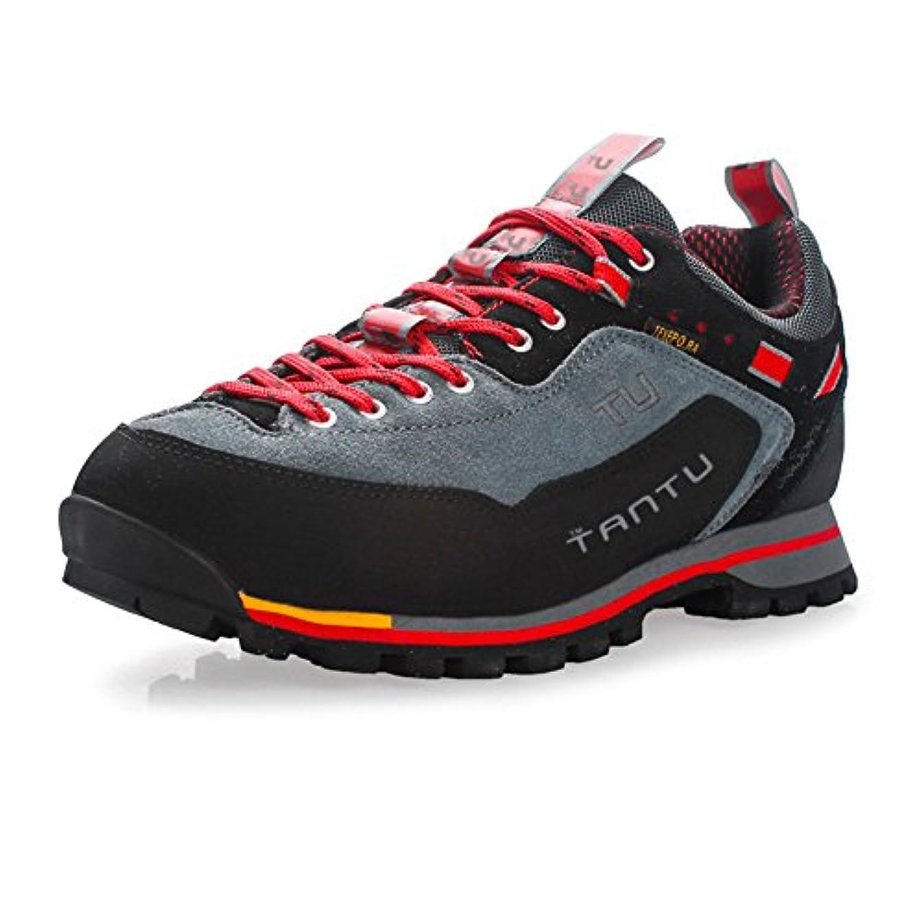 予見するヒギンズ撤退Xerhnan ハイキングシューズ メンズ 本革トレッキングシューズ ウォーキング アウトドア スニーカー 登山靴 遠足用 軽量 防滑 (26.5 cm, レッド)