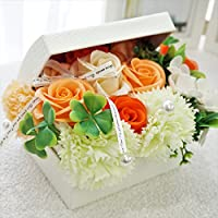 BIOフレグランスソープフラワー オープンボックス フタ付ボックス お祝い 記念日 お見舞い 母の日 ホワイトデー バレンタインデー   (オレンジ, ミニ)