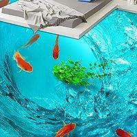 山笑の美 壁画 フロアステッカー 壁紙 3d 绘画 写真 防水美しい澄んだ水金魚の浴室の寝室PVC防水-120X100CM