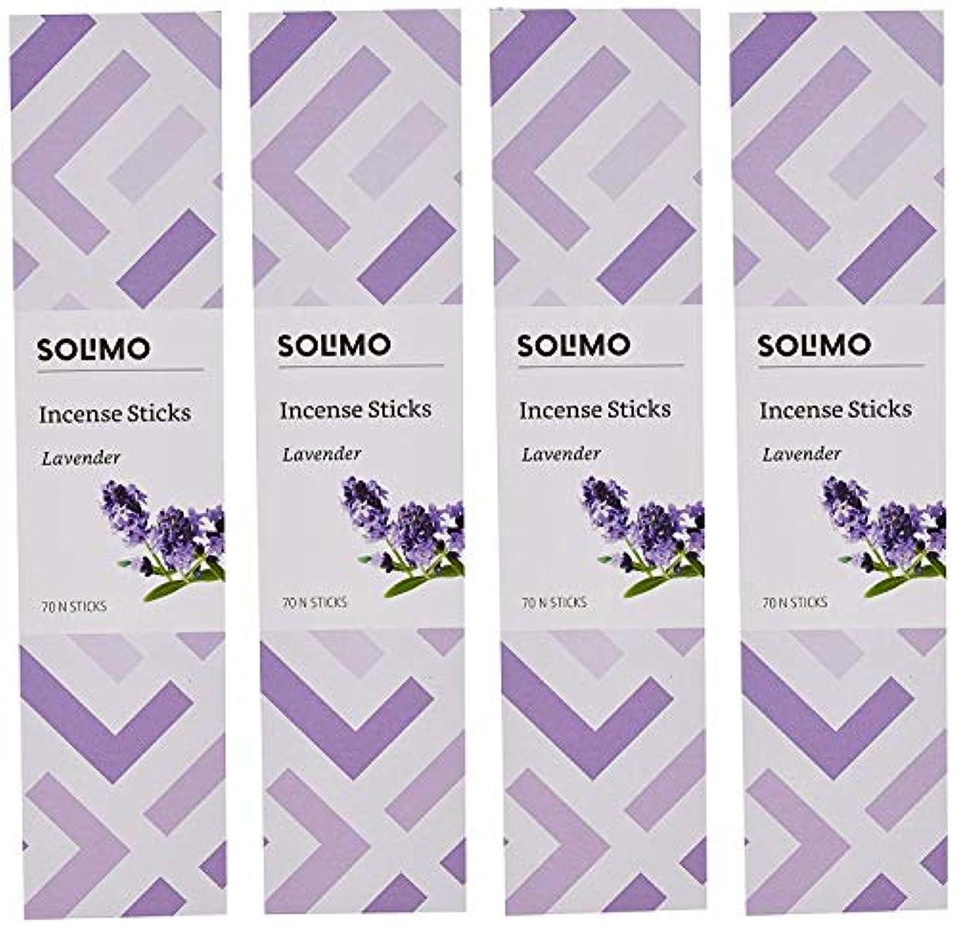 マーチャンダイジング贅沢な大惨事Amazon Brand - Solimo Incense Sticks, Lavender - 70 sticks/pack (Pack of 4)