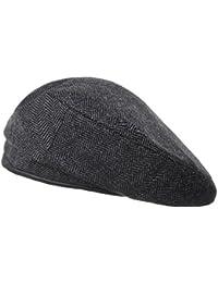 WITHMOONSベレー帽ウル ベレーハット ヘリンボーン チェック レザースウェットバンド ベレーハッツフォーレーディスKR9540(Grey)