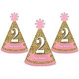 2 nd Birthday Girl – Two Much Fun – Mini円錐2番目誕生日パーティー帽子 – スモールLittle Party Hats – 10のセット