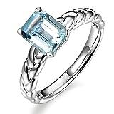 Kardyエレガントなデザインのマリンブルーの宝石用原石アクアマリン14Kソリッドホワイトゴールド花嫁のウェディング女性のリング
