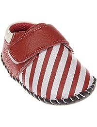 Tortor 1bacha(JP) ベビーシューズ ファーストシューズ ベビー 女の子 たて縞 本革 赤ちゃん 柔らかい靴底 ベビー靴 歩行練習 出産祝い プレゼント 赤 白 11.5-13.5cm