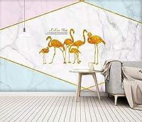 北欧スタイルミニマリストの幾何学的なカラーブロックゴールドフォイルフラミンゴエンボス加工の実用的な洗える洗える適用テクスチャード加工の家具理想的な使用