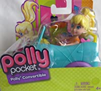 POLLY POCKET Polly's CONVERTIBLE w POLLY DOLL & AQUA Convertible VEHICLE CAR (2012) by Mattel