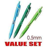UNI - BALL JETSTREAM Extra Fine Point Click RetractableローラーBallpointpens、ラバーグリップタイプ- 0.5mm-colorインクタイプ–ライトブルー、グリーン、ライムグリーンink-各1pen-値のセット3