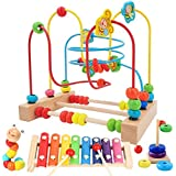 Jiudam ビーズコースター ルーピング おもちゃ 子供 知育玩具 セット 人気 ベビー 早期開発 男の子 女の子 誕生日のプレゼント アクティビティキューブ