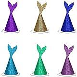 sugoiti 6pcs GlitterマーメイドテールParty Hats誕生日クラウンfor Under the Seaテーマ1st誕生日パーティーベビーシャワー装飾