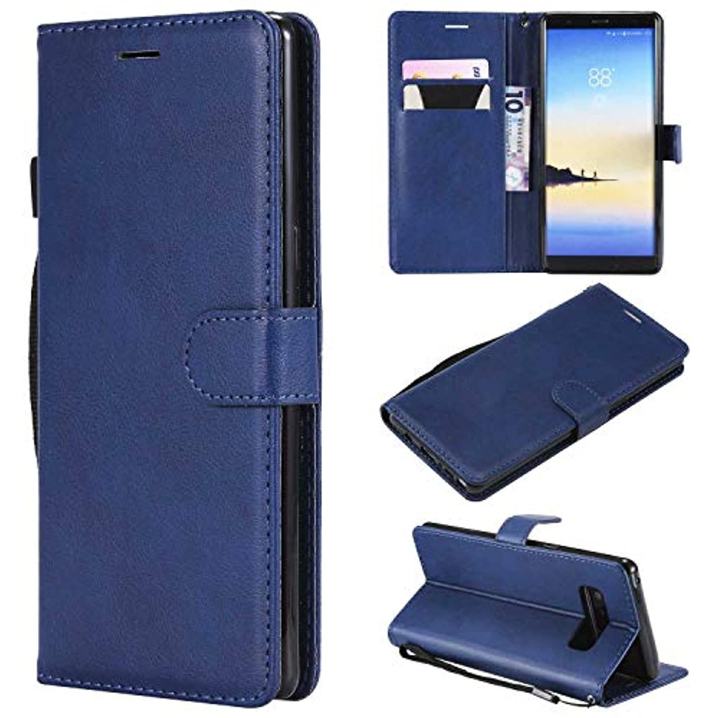 逆に氏実際のGalaxy Note 8 ケース手帳型 OMATENTI レザー 革 薄型 手帳型カバー カード入れ スタンド機能 サムスン Galaxy Note 8 おしゃれ 手帳ケース (6-ブルー)