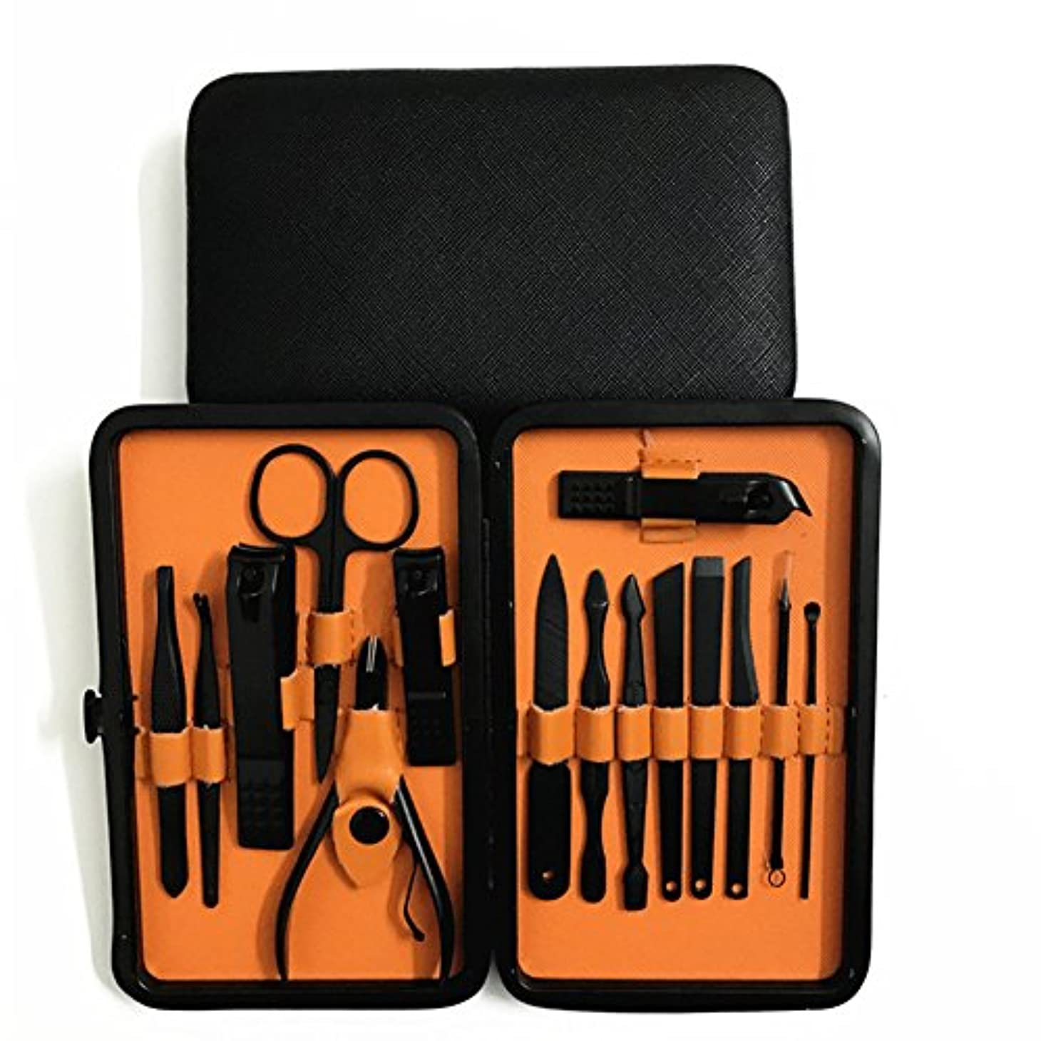 オプション厳密に増幅Liebeye 美容ツール セット ステンレス スチール ポケットマニキュア ペディキュアツールセット 15個/セット 十字紋紋ケース+オレンジ