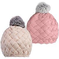 Dovewill 2個入り 赤ちゃん ビーニー 帽子 編みキャップ ハット ボンボン付 可愛い