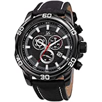 Joshua & Sons Chronograph Men's Watch - Leather Band with Big Rounded Stainless Steel Face - Multifunction Date, 30 Minute and 60 Second Registers - Analog Quartz Movement