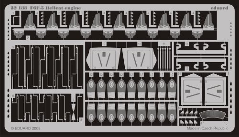 f6 F5 HellcatエンジンTSM 1 / 32 For Eduard
