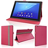 wisers タッチペン付 Sony Xperia Z4 Tablet SGP712JP SO-05G SOT31 タブレット 専用 フロントスタンド タイプ ケース カバー ピンク