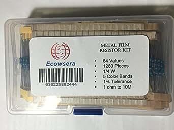 64種類 各20個(合計1280個)金属膜抵抗キット 1/4W(0.25W) 許容差±1%