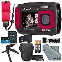 Polaroid ie090デュアル画面防水デジタルカメラ(レッド)デラックスバンドルwith 32GB +フローティングストラップ+ Xpix三脚+ケース+ SDリーダー+ fibertiqueクロス& More