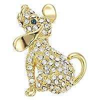 アクセサリーショップピエナ レディース ブローチ 犬 ドッグ 動物 パヴェ 可愛い ゴールド