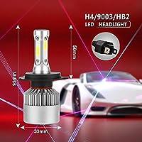 FidgetGear 1×H4 9003 1500W 225000LM COB LEDヘッドライトキット車の電球6500Kホワイトこんにちは/ Loビーム