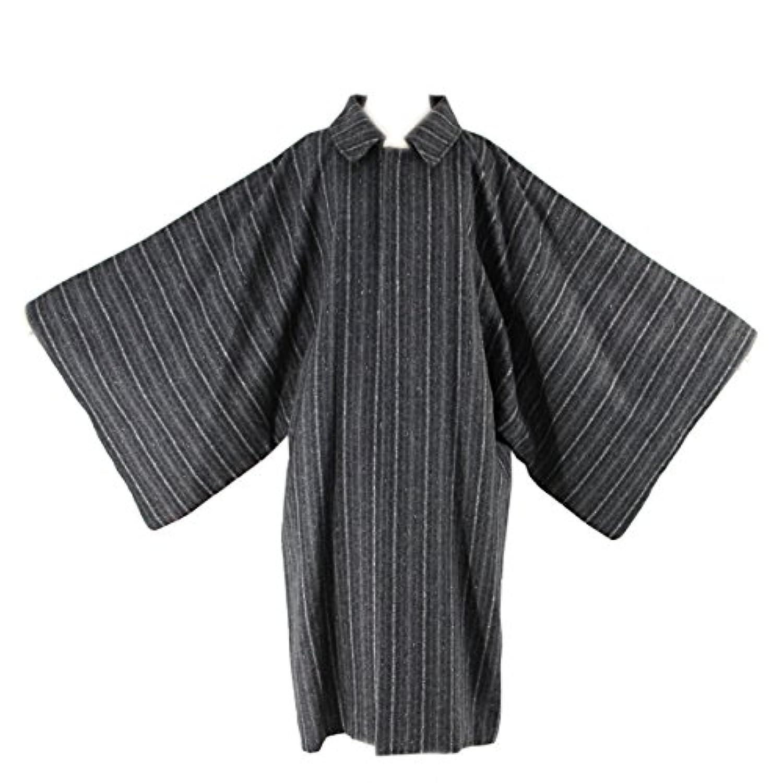 ウールコート メンズ -16- 角袖コート 和装コート グレー ストライプ 日本製