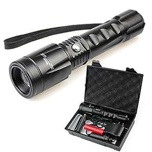 SUNSPOT CREE XM-L T6 ズーム機能付き 強力懐中電灯 5モードledライト 18650ライト 充電セット付き