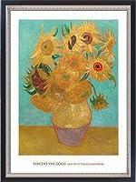 ポスター フィンセント ファン ゴッホ Vase with Twelve Sunflowers 1889 額装品 マッキアフレーム-S(ブラックシルバー)