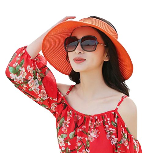 MER―CO (メルコ) サンバイザー くるくる たためる お出かけ 紫外線 防止 リボン が かわいい リゾート UV (子供, オレンジ)