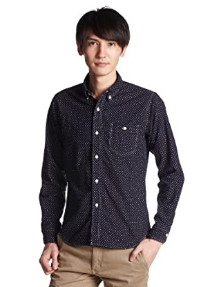 Cotton Flannel Dot Work Buttondown Shirt 1211-149-4830: Navy
