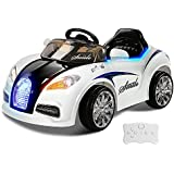 RIGO Kids Bugatti Inspired Ride On Toy Car 12V Battery Remote Control-Black and White