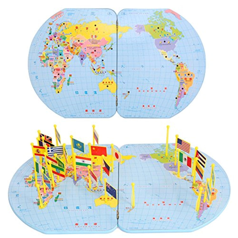 子供木製教育パズルワールドマップ挿入National Flag Toys