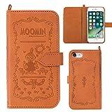 iPhone7 ケース 手帳型 カバー ムーミン カード収納 ストラップホール / リトルミイ / ブラウン