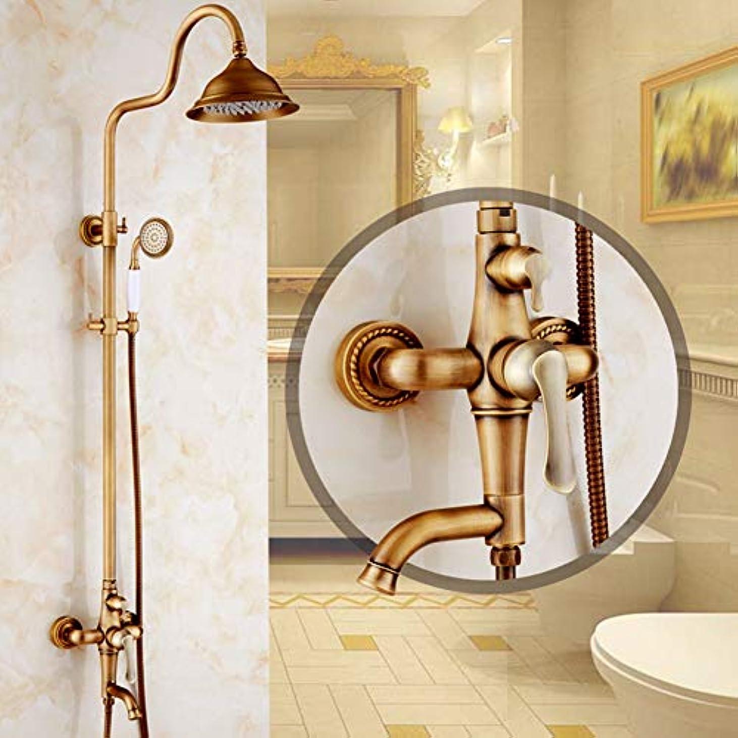 通路アームストロング無傷シャワー蛇口 - アンティークアンティーク銅Centersetセラミックバルブ2穴すべての銅ヨーロッパのレトロシャワーアンティークシャワーセットは、シャワーの蛇口を持ち上げて回転することができます