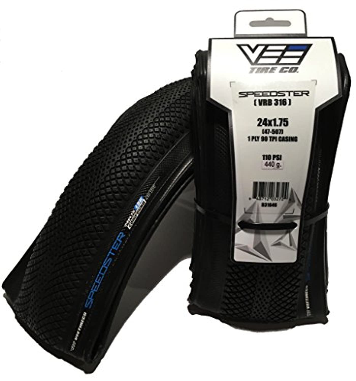 Vee - ゴム製 BMX Speedster 24x1.75 折りたたみビーズ ブラック サイドウォールバイクタイヤ 47-507