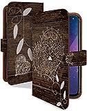 Disney Mobile on DM-01J ケース 手帳型 ウッド ハート ブラウン 花柄 木目 スマホケース ディズニーモバイル 手帳 カバー DisneyMobile dm01j dm01jケース dm01jカバー 花 フラワー ハート型 [ウッド ハート ブラウン/t0590b]