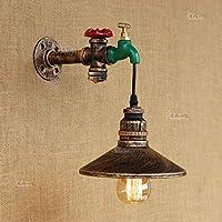 レトロ工業水道管鉄ロフト壁ランプスチームパンク1ヘッドE27エジソン錬鉄製の壁ライト壁取り付け用燭台ビンテージバーレストランダイニングルームの壁照明器具(色:素朴なシルバー)