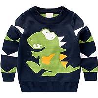 [スゴフィ]SGFY セーター ボーイズ ガールズ ベビー キッズ コットン ニット 男の子 子供服 女の子 恐竜柄 ストライプ トップス クルーネック 3色