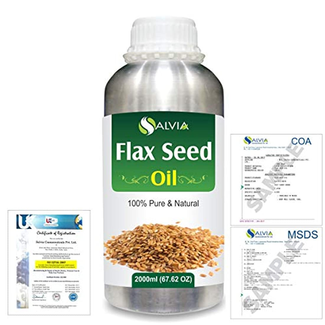 引き金バッテリーかもしれないFlax Seed (Linum usitatissimum) 100% Natural Pure Undiluted Uncut Carrier Oil 2000ml/67 fl.oz.