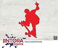 JINTORA ステッカー/カーステッカー - SKATEBOARDER - Skateboard - スケートボード - スケートボード - 81mm x139mm - JDM/Die cut - 車/ウィンドウ/ラップトップ/ウィンドウ- 赤